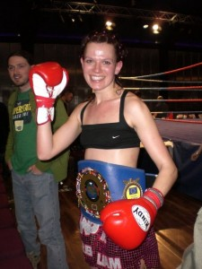 After winning the IKF European title against Mariela Kruse. December 2008.
