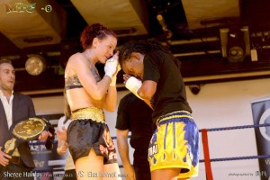 Paying respect to my opponent after winning the ISKA world title in February 2013. against
