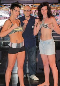 The weigh in for fight against Roxy Richardson. July 2010.