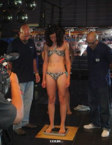 The weigh in for the fight against Roxy Richardson in Los Angeles, USA. July 2010