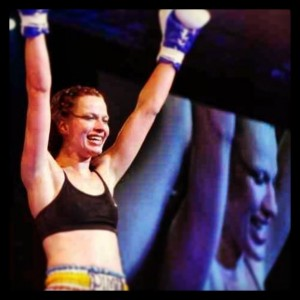 Celebrating a win against Sarah McCarthy at the Reebok Stadium, Bolton, U.K. May 2009.