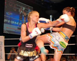 Fighting at the Reebok stadium, Boton, U.K against Bad Company fighter Sarah McCarthy. May 2009.